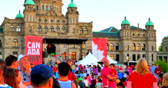 4K Canada Day Music Festival on Lawn of Legislature, BC Parliament Buildings - stock footage