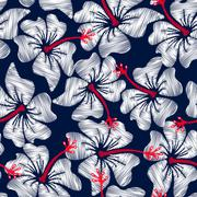 Stock Illustration of White hibiscus tropical embroidery floral seamless pattern