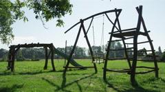 Wooden Swing Empty Breeze Summer - 4k Stock Footage