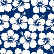 Graphic white tropical hibiscus flowers seamless pattern - stock illustration