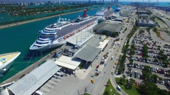 MIAMI – FEBRUARY 27, 2016: Cruise Ships in the port ready to depart - stock footage