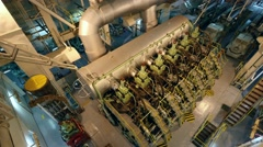 Main engine in engine room of VLCC tanker, view from upper platform. Stock Footage