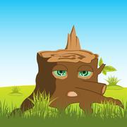 Cartoon stump with eye - stock illustration