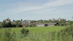 Driving Past View Of Beautiful Arundel Cathedral And Castle Hand Held Stock Footage