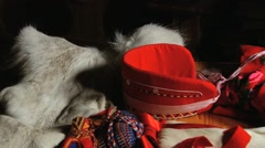 Set of the national Saami clothes in Nallim, Finland. Stock Footage