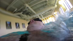 Underwater FPV shot of man swimming back stroke Stock Footage
