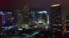 Aerial view of Miami – Downtown area at night Arkistovideo
