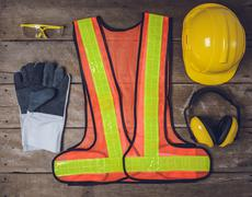 Standard construction safety equipment - stock photo