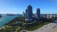 Beautiful aerial view of Miami on a sunny day, Florida Arkistovideo