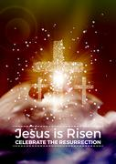 Jesus is risen, vector Easter religious poster template with transparency and - stock illustration