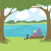 Beautiful landscape with grandmother, grandson and cat sitting on log, admire a Stock Illustration