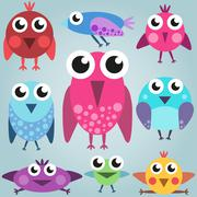 Cartoon bright bird set, funny comic birds, simple birds - stock illustration