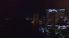 Downtown Miami at night, aerial vew Stock Footage