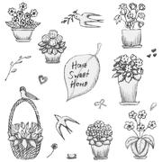 Hand drawn indoor plants, flowers in vases and swallows sketch - stock illustration