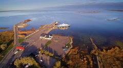 Aerial view of the Virtsu harbour Stock Footage