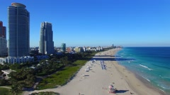 Miami Beach, Florida. Beautiful aerial view from South Pointe Park - stock footage