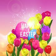 Happy Easter, egg hunt poster template with blurry sky design. - stock illustration