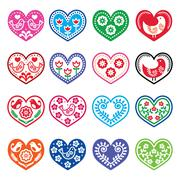 Folk art hearts with flowers and birds icons set - stock illustration