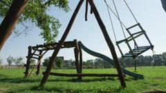 Wooden Swing Empty Breeze Summer Closer - 4k Stock Footage