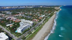Palm Beach coastline in Florida. Aerial view Stock Footage
