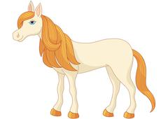 Charming cartoon horse with long golden mane and tail - stock illustration