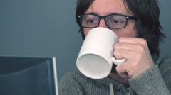 Freelancer working in home office Stock Footage