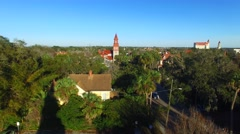 Arial view of St Augustine at sunset, Florida Stock Footage
