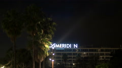 Le Méridien Hotel in Nice at night Stock Footage
