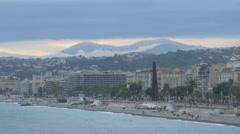 The seashore of Nice seen from Quai Rauba Capeu Stock Footage