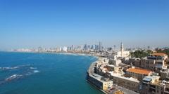 Tel Aviv - Jaffa, Aerial footage moving in from the mediterranean sea Stock Footage