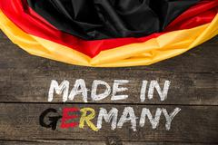 Germany Flag with Text Made in Germany Stock Photos