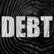 Debt sign with some smooth lines - stock illustration