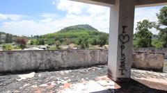Abandoned Hotel Building Pillar Graffiti Lobby Broken Glass Mountain Stock Footage