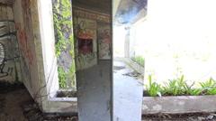 Abandoned Hotel Building Pillar Mirror Graffiti Lobby Overgrown Plants Stock Footage