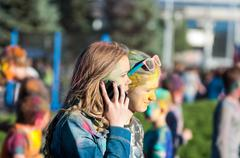 Stock Photo of Orenburg, Russia - 13 June 2015: Young people at the Festival of holi
