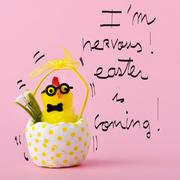 teddy chick and text I am nervous easter is coming - stock photo