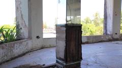 Abandoned Hotel Building Flies Swarm Around Pillar Mirror Lobby Stock Footage