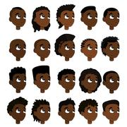 Set of boys' faces and hairstyles - stock illustration