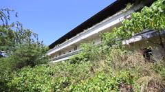 Abandoned Hotel Building Balcony Walkway Overgrown Plants Stock Footage