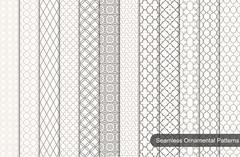Collection of ornamental seamless patterns. Stock Illustration