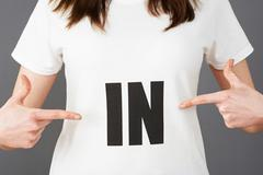 Woman Supporter Wearing T Shirt Printed With IN Slogan Stock Photos