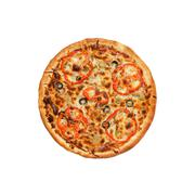 Pizza with olive and peper on a white background Stock Photos