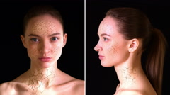 Dry Skin. Girl with dry skin turns into a beautiful woman. Stock Footage