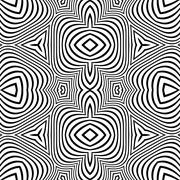 Stock Illustration of optical art abstract striped seamless deco pattern.