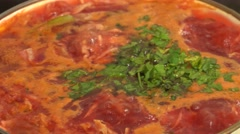 Borscht Cooking, Ukranian National   Dish Closeup. 4K UltraHD, UHD Stock Footage