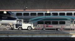 Amtrak train arriving to LA Union Station platform Stock Footage
