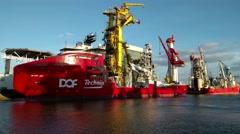 Pipelay support vessel Skandi Acu at shipyard Stock Footage