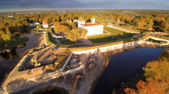 The landscape aerial shot of the Kuressaare castle Stock Footage