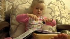 Cute Little Girl Paint Attentively, Big Leg in Frame. 4K UltraHD, UHD - stock footage