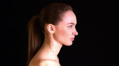 Dry Skin. Girl with dry skin on the face and neck turns into a beautiful woman. Stock Footage